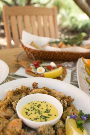 Anthonij Rupert Wyne Estate & Terra del Capo Tasting Room: Fried calamari with aioli