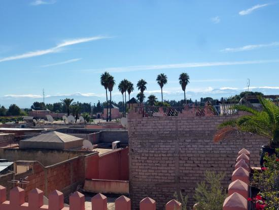 View from Riad Shemsi roof terrace toward the Atlas Mountains