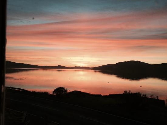 The Creggans Inn : Sunset over Loch Fyne. View from room