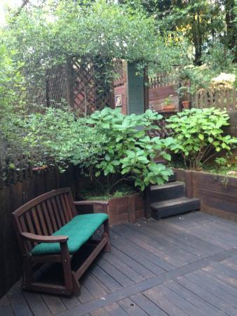 Redwood Croft: Garden room patio