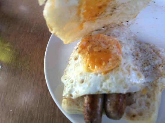 Halo : Bratwurst (Tasty!!) with friend eggs on fresh bun