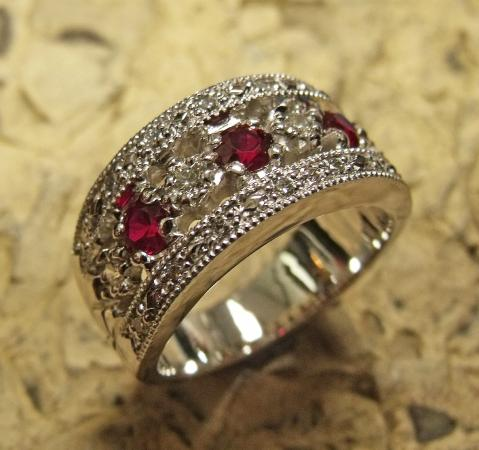 Gaumer's Jewelry & Musuem: Original 14k white gold lady's ring set with genuine rubies and diamonds