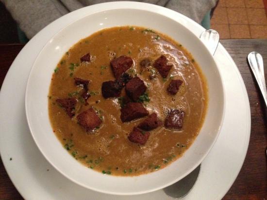 Chez Michel: Fish soup, parmesan, chorizo and croutons