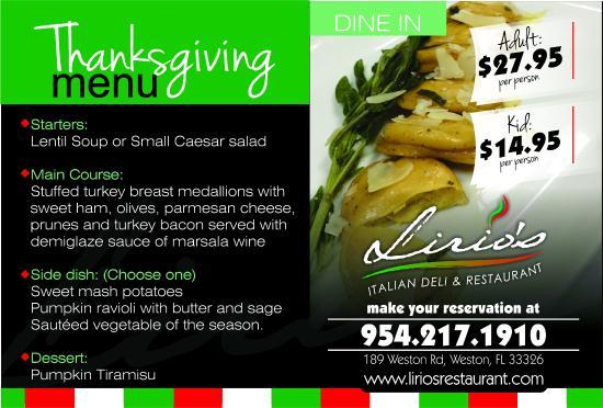 Lirio's Italian Restaurant: thanksgiving menu at lirios italian restaurant