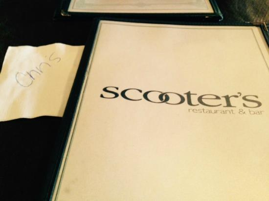 Scooter's Restaurant & Bar: Check the name on the napkin. Great Idea! Service is excellent!