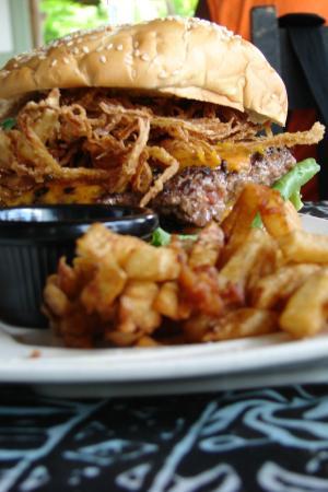 Jolly Roger: Giant 10+ oz Onion Suprise Burger