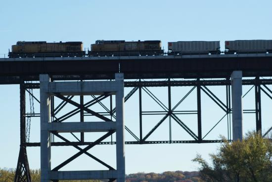 Boone, IA: Union Pacific Train on Kate Shelley High Bridge
