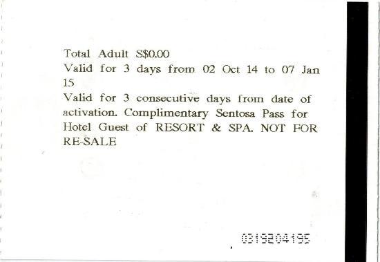 Sofitel Singapore Sentosa Resort & Spa: Complimentary Pass