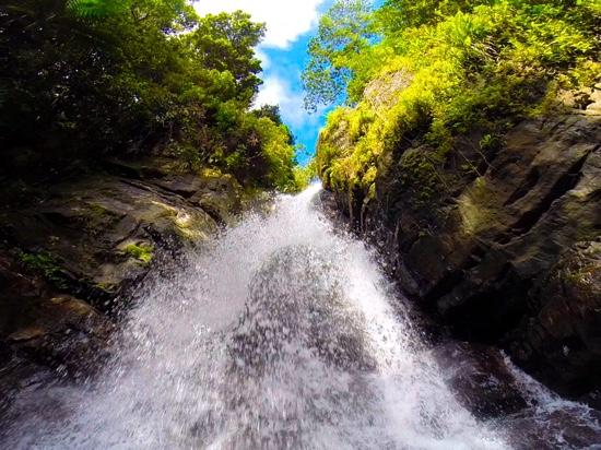 underneath la mina falls