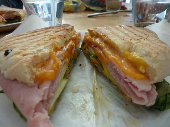 The Butcher & Baker Cafe : Ham and cheddar panini with apples!