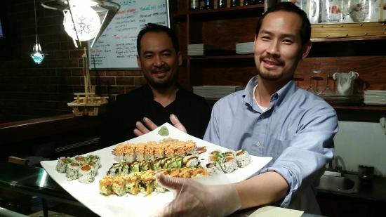 Yama Japanese Restaurant & Sushi Bar: The owners showing the pride in their work.  Toi on the left, Mitch on the right.