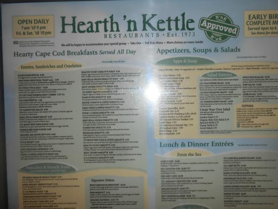 Hearth 'n Kettle : Lista menù