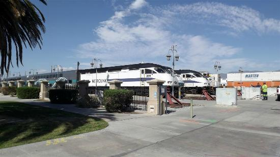 San Bernardino, CA: Metro trains outside museum