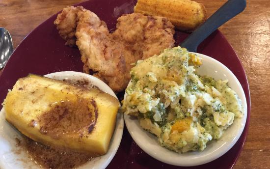 Ramsey's Diner: The acorn squash and broccoli casserole were pretty good), but the fries chicken breast was tend