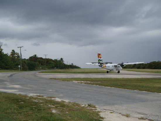 Hungry Iguana Restaurant: The runway is almost literally at their entrance!