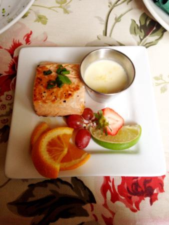 4oz Salmon with butter sauce was yummy  The fruit was good but the