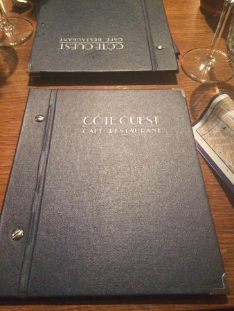 Restaurant Côte Ouest : Cardápio