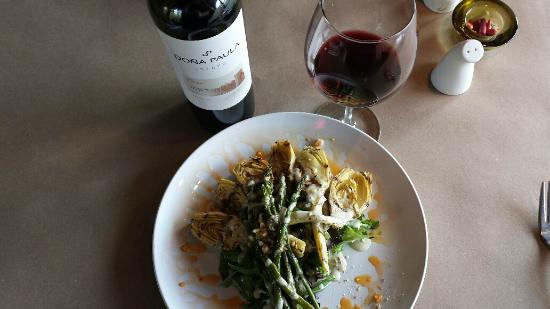 Blau: Grilled artichoke and asparagus and Malbec