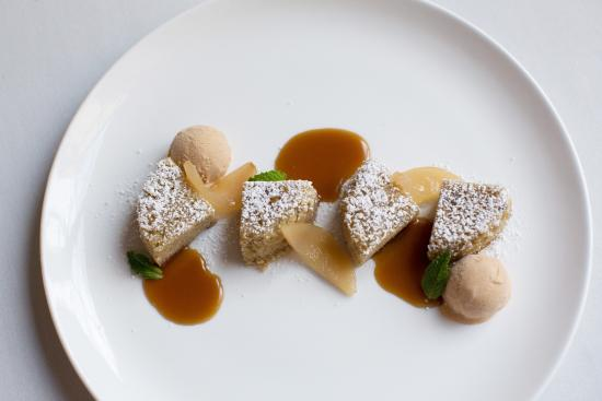Julia's at the Berkeley City Club : Warm pear cake, vanilla poached pears, toffee sauce, brown butter ice cream