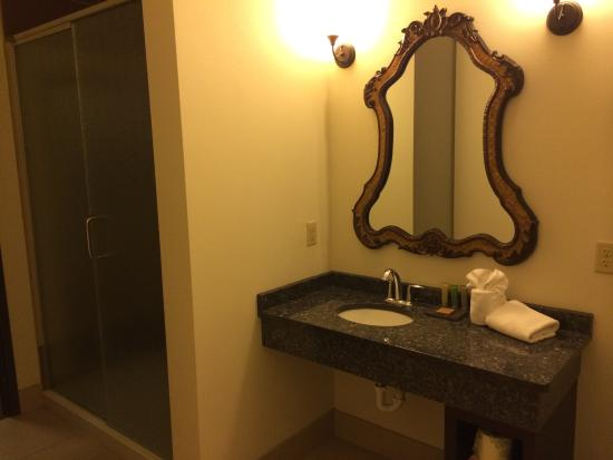 The Brewhouse Inn & Suites: Bathroom with a view and a great shower!