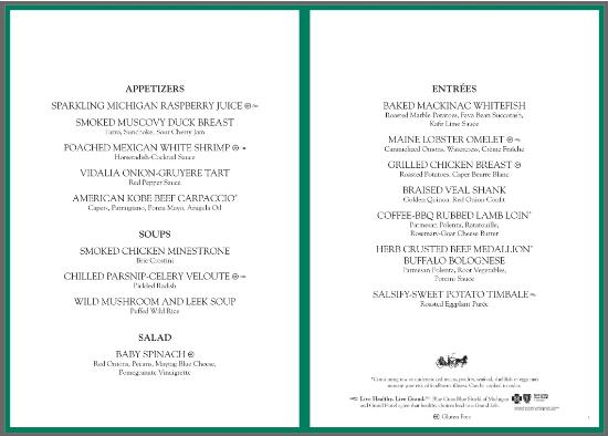 green dinner menu second of three rotating menus