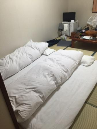 Shirakawago no Yu: bed prepared by staff during our dinner time
