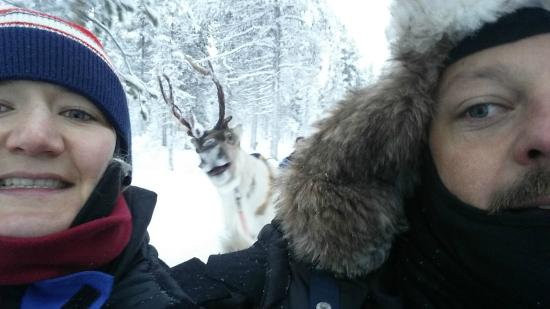 We got photo-bombed by a reindeer. Yes. Really.