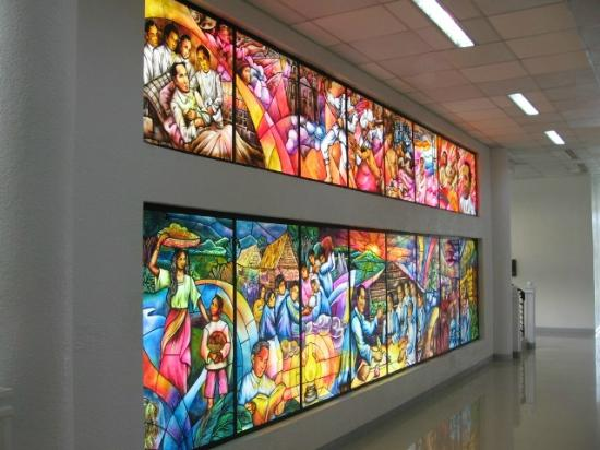 Tanauan City, Philippines: Stained-glass mural on the Ground Floor