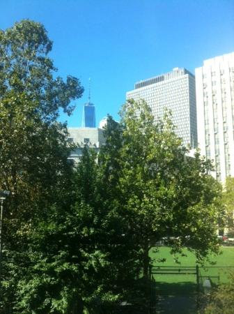 Hotel Mulberry: View from our room looking over Columbus Park and toward 1 WTC