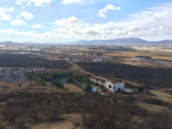 Hacienda Guadalupe Restaurante: View of the restaurant and hotel from the hill behind it