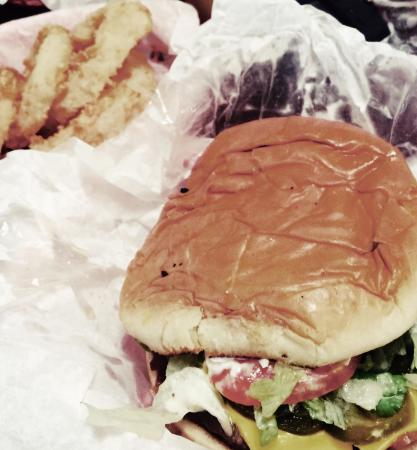 Wes' Burger Shack: Cheese burger with everything on it. Homemade onion rings with homemade salad dressing. A must t