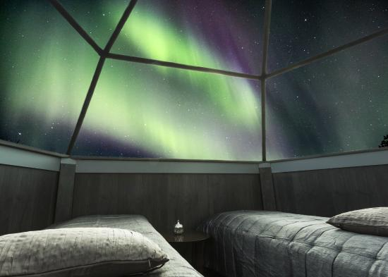 Arctic SnowHotel & Glass Igloos: Our aurora alarm can wake you up in the middle of the night when the northern lights appear!