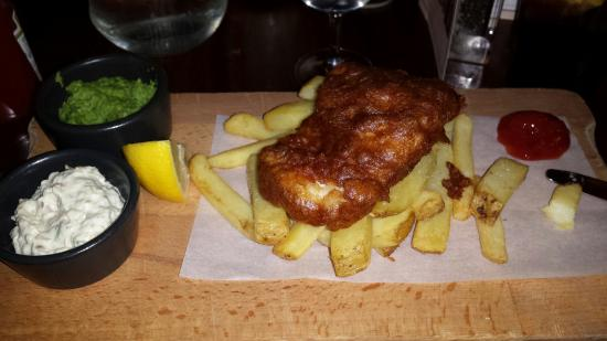 The Almanack: Overcooked fish with undercooked chips. Rock hard mushy peas and fine heinz ketchup
