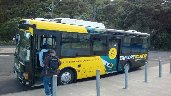 Waiheke-øya, New Zealand: Exit the ferry terminal and join your tour bus.