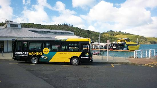 Isla Waiheke, Nueva Zelanda: Look for the yellow and black bus after you get of the ferry.
