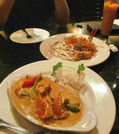 Thai Spices - Thai Restaurant: Panang chicken curry and shrimp pad thai