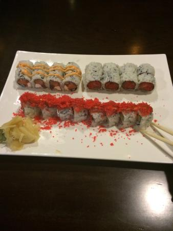 Sushi Mido: Front:  Spicy Crunch Tuna Roll Back, L-R:  Red Dragon Roll, Neiman Roll