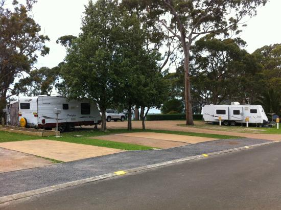 Huskisson White Sands Tourist Park: Camping ground infront of the cabin