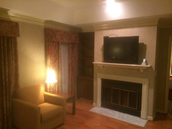 BEST WESTERN Brentwood: TV and fireplace (dont know if f/p works)