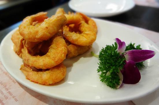 Crystal Jade La Mian Xiao Long Bao (Gateway Arcade) : delicious shrimp with an orchid flower