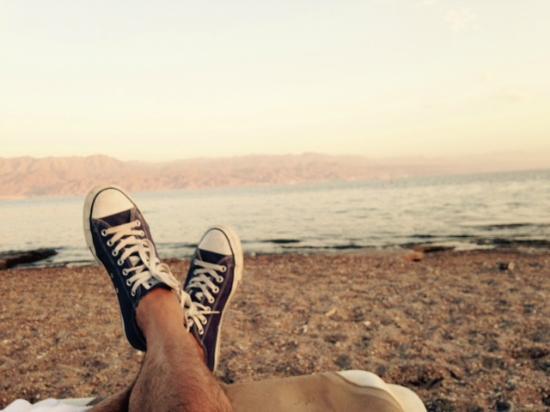 U Coral Beach Club Eilat: la vue sur aqqaba de la plage
