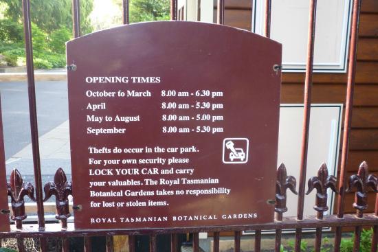 Royal Tasmanian Botanical Gardens: Opening Hours
