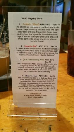 Kern River Brewing Company: Back of beer menu