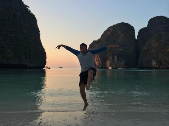 Sunset Cruise and Plankton Tour by Maya Bay Tours : Friend doing some Karate Kid moves in Maya Bay