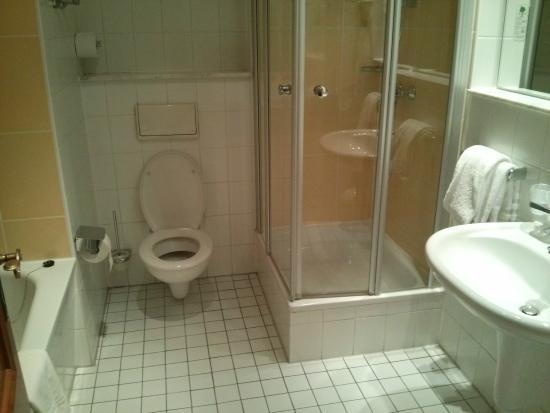 Flandrischer Hof : Ванная: есть как ванна, так и душевая кабина)) Лежат одноразовые шапочки, швейный набор, мыло.