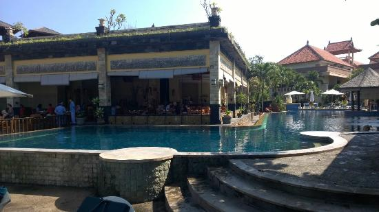 Pool view into restaurant all needs lots of work care for Pelangi bali hotel