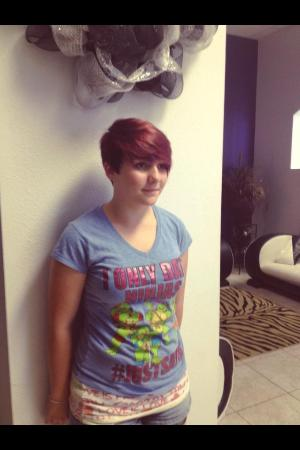 Fun And Youthful Short Hair Style With Pops Of Purple Temporary