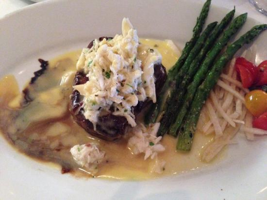 Greystone Prime Steakhouse & Seafood: Dish was very good. Steak was perfect and went great with the crab. Very over priced I thought,