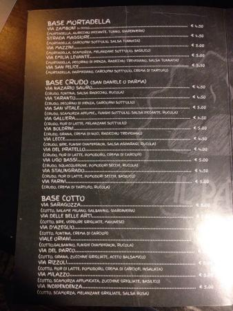 Menu picture of il panino bologna tripadvisor for Il rosso bologna menu