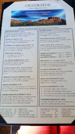 Creekside American Bistro: Breakfast menu